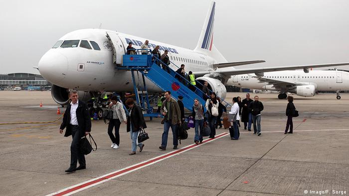 Ausstieg aus dem Flugzeug Nahansicht