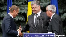 Ukraine Kiew PK Donald Tusk & Petro Poroschenko & Jean-Claude Juncker