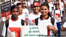 NEW DELHI INDIA MAY 28 Students participate in a rally on World Menstrual Day at Connaught Place