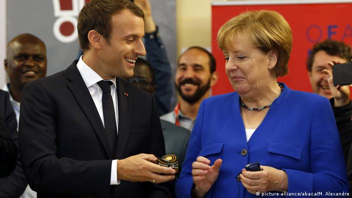 Paris: Emmanuel Macron and Angela Merkel