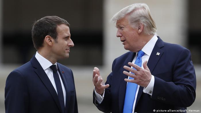 Macron and Donald Trump at the Elysee Palace