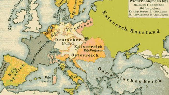 A map shows Europe's borders after the Vienna conference