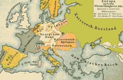 Карта Европы после Венского конгресса