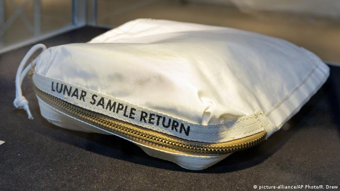 The Apollo 11 Contingency Lunar Sample Return Bag used by astronaut Neil Armstrong