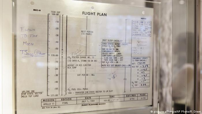 An Apollo 11 flight plan sheet signed by Buzz Aldrin