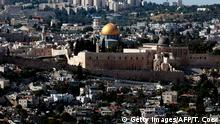 A general view taken on May 31, 2017 shows the city of Jerusalem with the Western Wall (L), the Dome of the Rock (C) and the Al-Aqsa Mosque (R). / AFP PHOTO / THOMAS COEX (Photo credit should read THOMAS COEX/AFP/Getty Images)