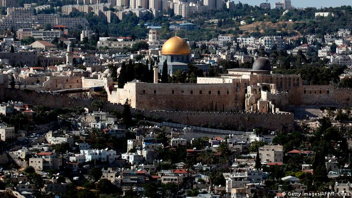 A view of Jerusalem shows the Western Wall (L), the Dome of the Rock (C) and the al-Aqsa Mosque (R).