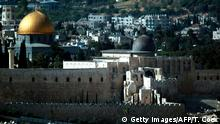 A general view taken on on May 31, 2017 shows the city of Jerusalem with the Dome of the Rock (L) and the Al-Aqsa Mosque (R). / AFP PHOTO / THOMAS COEX (Photo credit should read THOMAS COEX/AFP/Getty Images)