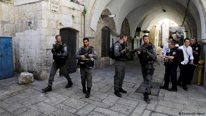 Police secured the area near the shooting in Jerusalem's old city