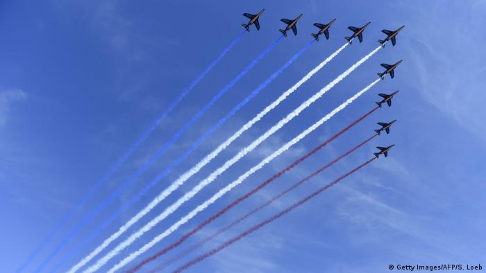 Jets from the Air Force Patrouille de France flying over the French sky.