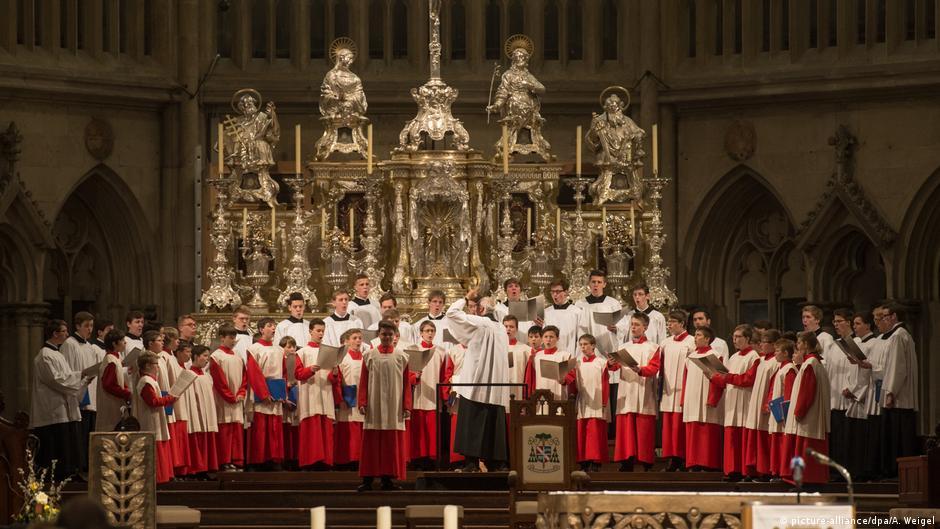 The Regensburg Domspatzen boys' choir singing in their home cathedral