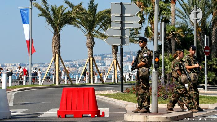 Soldiers on the main promenade in Nice.
