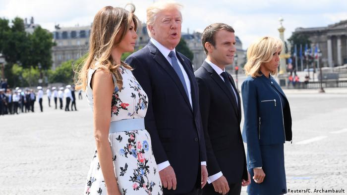 Frankreich Nationalfeiertag in Paris | Ehepaare Trump & Macron (Reuters/C. Archambault)