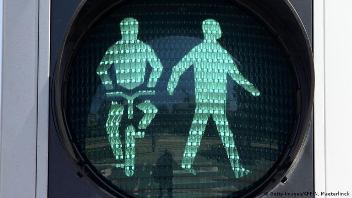 Traffic light - green man walking and biking