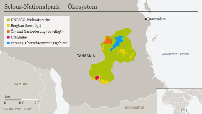 Infografik Karte Selous Nationalpark Tansania DEU