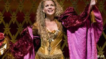 In a photo provided by the Metropolitan Opera, Renee Fleming as Thais performs in the final dress rehearsal of Messenet's Thais at the Metropolitan Opera in New York