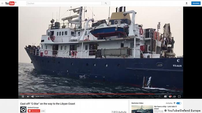 Screenshot YouTube Defend Europe - Cast off! C-Star on the way to the Libyan Coast.
