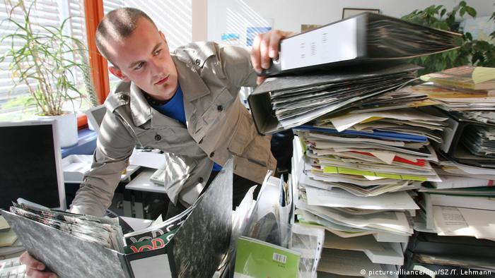Piles of filing folders