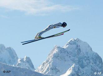 Do not try this at home: top German skier Sven Hannawald at the Zugspitze, near Munich.