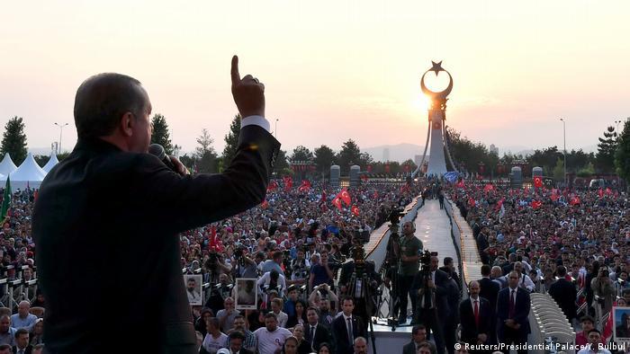 Cumhurbaşkanı Erdoğan, 15 Temmuz darbe girişiminin yıldönümünde düzenlenen anma töreninde.