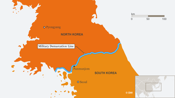 Karte Infografik North Korea and South Korea Military Demarcation Line Panmunjom ENG