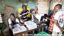 BRAZZAVILLE, July 17, 2017 People take part in voting at a polling station in Bacongo of Brazzaville, Congo, July 16, 2017. Congo held parliament elections on Sunday. jmmn |