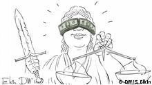DW-Karikatur von Sergey Elkin - Gericht