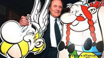 French illustrator Albert Uderzo with his comic-strip characters Asterix and Obelix