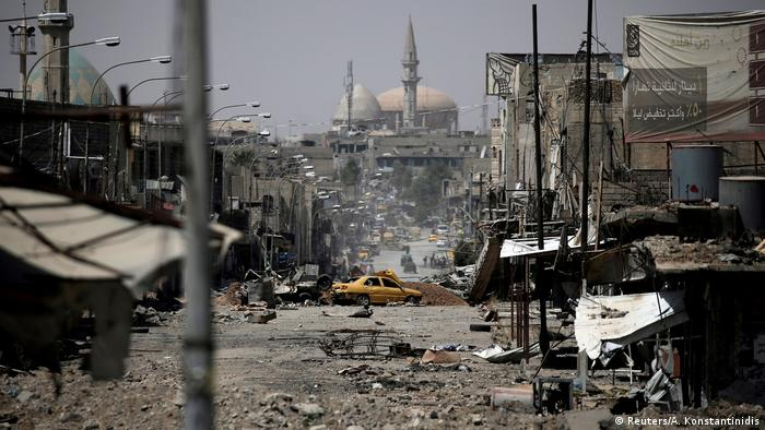Mosul with destroyed buildings