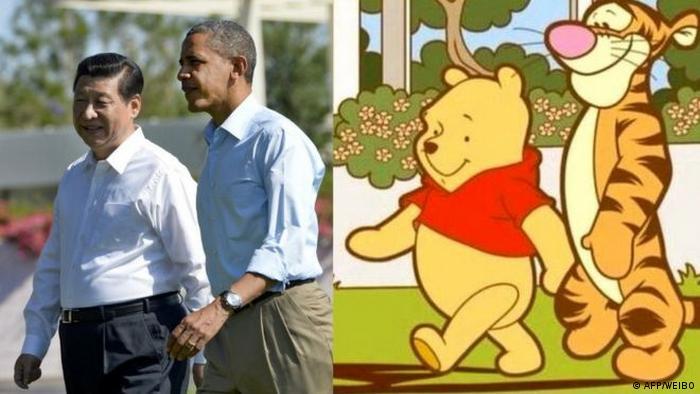 Bildkombo Meme Xi Jinping Ex US Präsident Barack Obama und Winnie the Pooh (AFP/WEIBO)