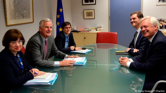Brexit negotiators sitting at a table