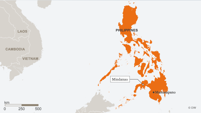 A map of the Philippines showing Mamasapano