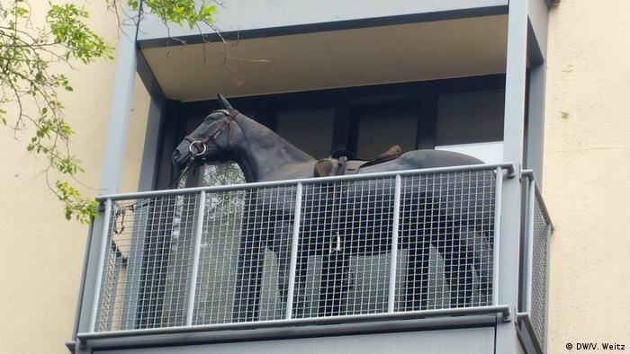 Макет коня на балконі у Кельні