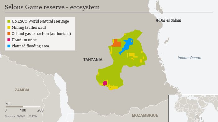 Infographic showing the planned flooding area in the Selous reserve as well as areas where authorized mining, oil and gas extraction are taking place