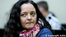 Defendant Beate Zschaepe, accused of helping to found a neo-Nazi cell, the National Socialist Underground (NSU), arrives for the continuation of her trial at a courtroom in Munich, Germany July 5, 2017. REUTERS/Michaela Rehle