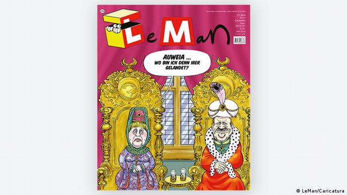 Angela Merkel and Erdogan in a cartoon on the magazine LeMan (Photo: LeMan/Caricatura)