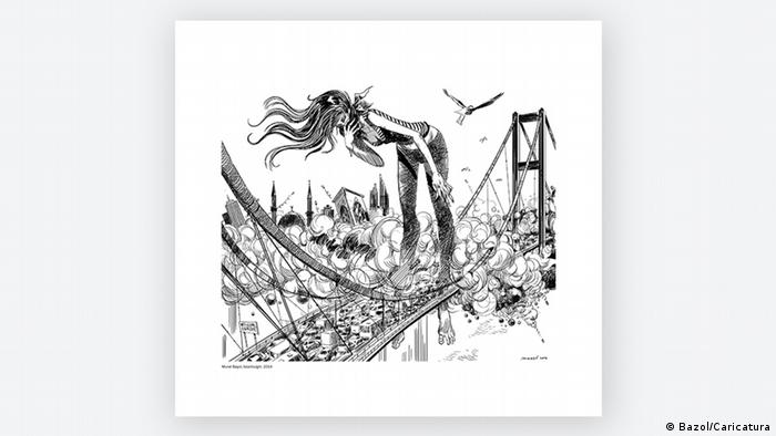 Cartoon by Murat Basol about the Third Bosphorus Bridge (Photo: Basol/Caricatura)