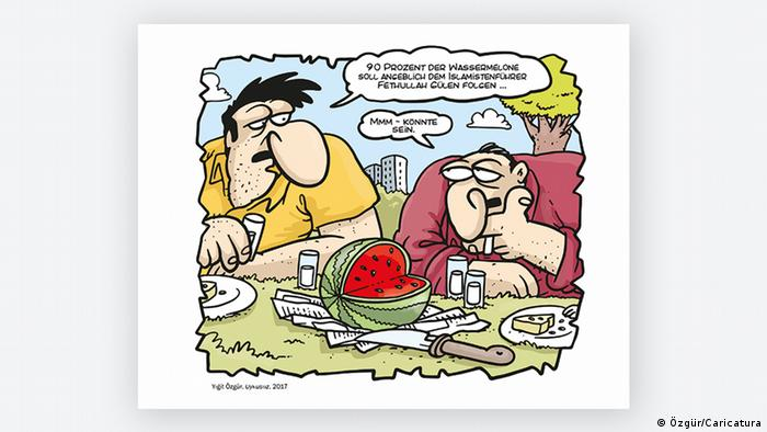 A cartoon by Yigit Özgür. two men discussing over a watermelon (Photo: Özgür/Caricatura)