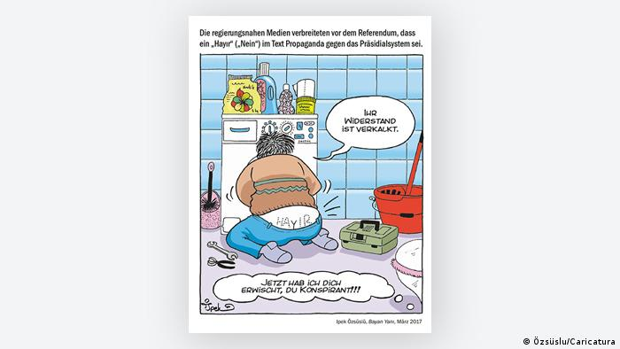 Cartoon by Ipek Özsüslü - a plumber with reference to Turkish referendum (Photo: Özsüslu/Caricatura)