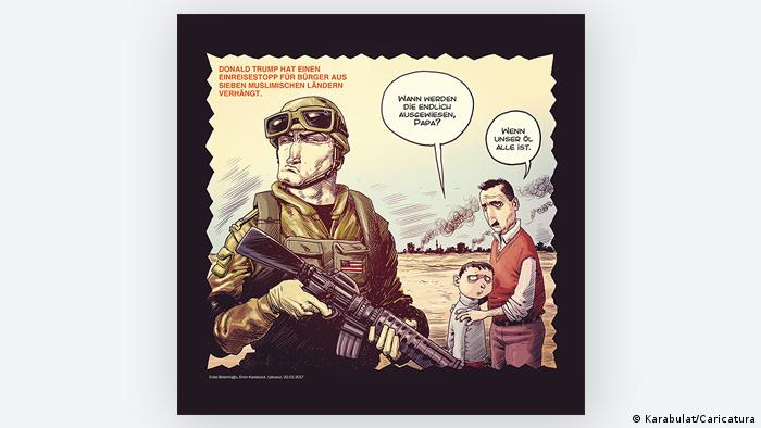Cartoon, a soldier, a child, and his father (Photo: Karabulat/Caricatura)