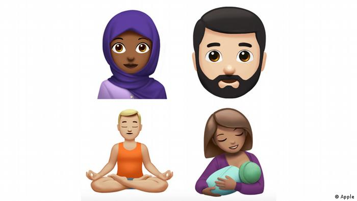 New Apple emojis: woman with headscarf, man with beard, meditating person and breastfeeding mother (Photo: Apple)