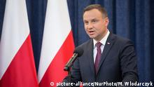 President of Poland Andrzej Duda during the statement about changes in the judicial law and Supreme Court at Presidential Palace in Warsaw, Poland on 18 July 2017 (Photo by Mateusz Wlodarczyk/NurPhoto) | Keine Weitergabe an Wiederverkäufer.