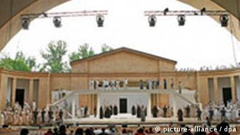 Actors rehearsing at the Passion Play theater in Oberammergau