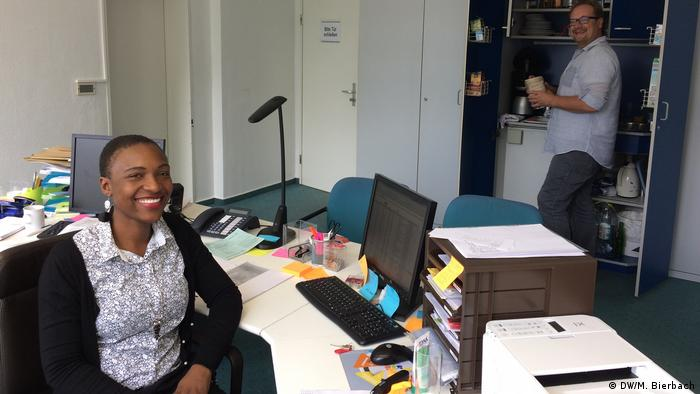 Two social workers in an office