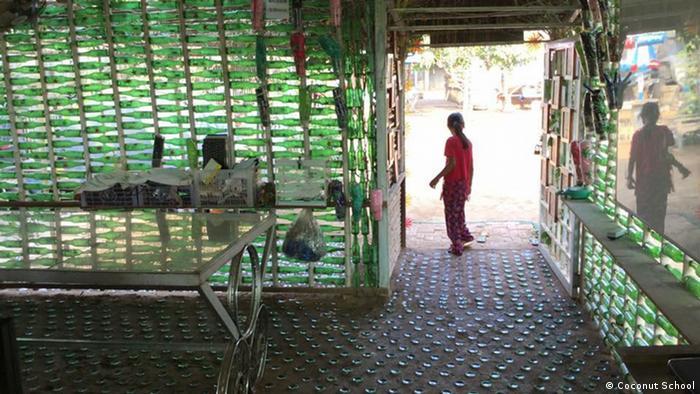 A floor made of bottles