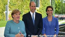Prince William and Kate with Angela Merkel
