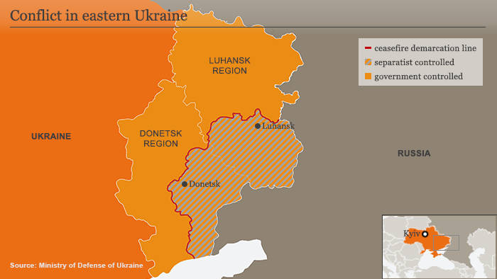 Infographic map on conflict in in eastern Ukraine ENG