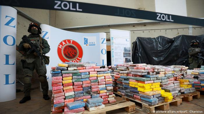 Armed police guard a record haul of cocaine in Hamburg