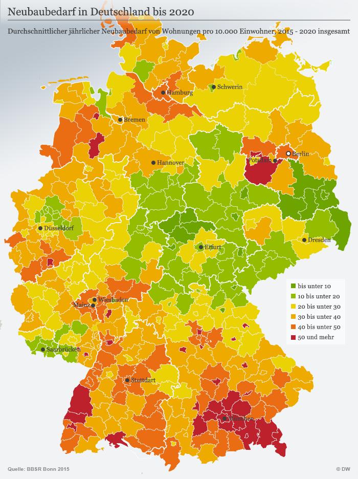 Infografik Karte Neubaubedarf in Deutschland bis 2020