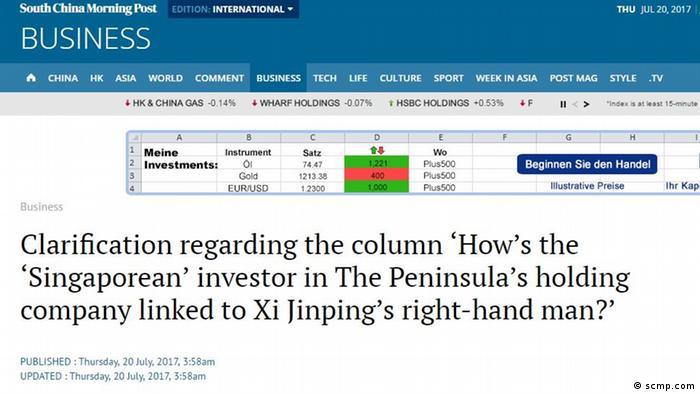 Screenshot scmp.com- Artikel